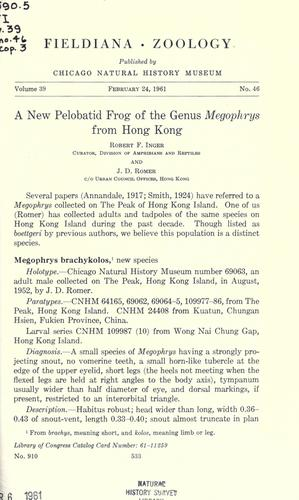 A new pelobatid frog of the genus Megophrys from Hong Kong by Robert F. Inger