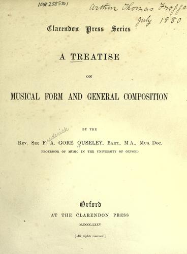 A treatise on musical form and general composition.