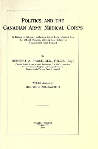 Politics and the Canadian Army Medical Corps