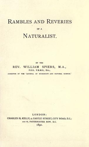 Rambles and reveries of a naturalist by