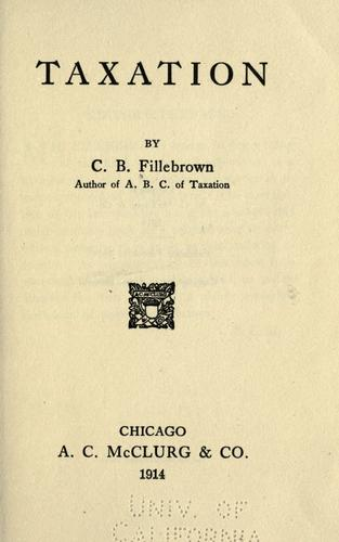 Taxation by Fillebrown, Charles Bowdoin