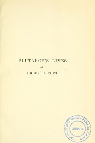 Plutarch's lives of Greek heroes by Plutarch