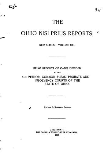 The Ohio Nisi Prius Reports by Ohio Courts