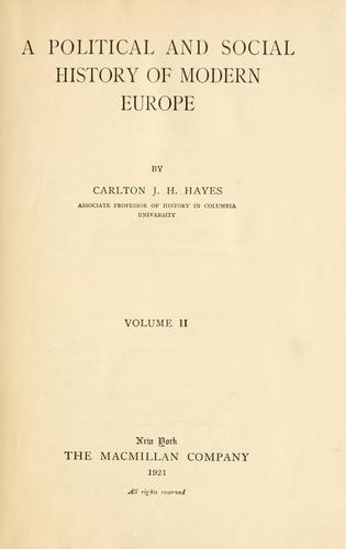 A political and social history of modern Europe