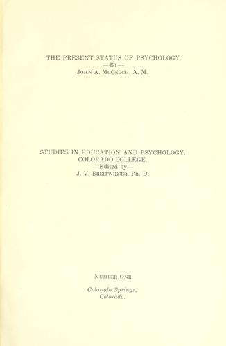 Publications.  Education and psychology series by Colorado College