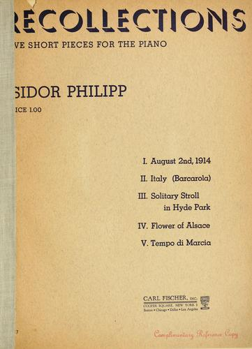 Recollections by Isidore Edmond Philipp