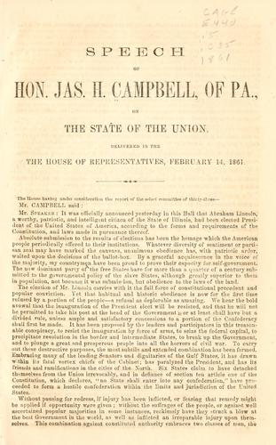 Speech of Hon. Jas. H. Campbell, of Pa., on the state of the Union by James Hepburn Campbell