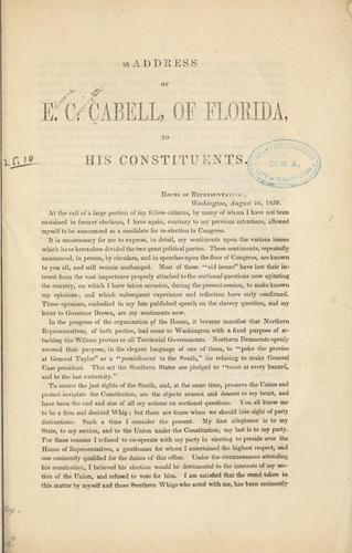 Address of E. C. Cabell by Cabell, Edward Carrington