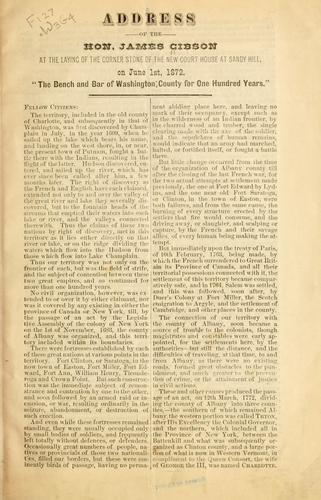 Address of the Hon. James Gibson by Gibson, James