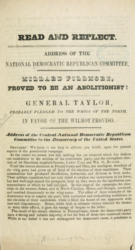 Address of the National Democratic Republican committee by Democratic party. National committee, 1848-1852.