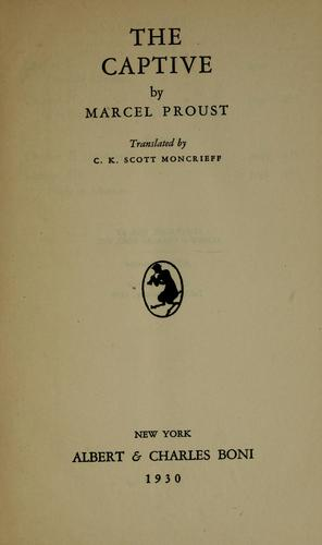 The captive by Marcel Proust in deutscher sprache