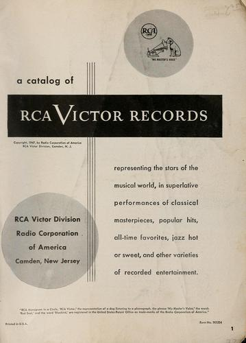 A catalog of RCA Victor records by Radio Corporation of America. RCA Victor Division.
