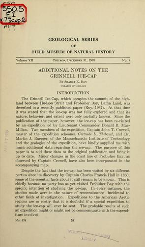Additional notes on the Grinnell ice-cap by Roy, Sharat Kumar