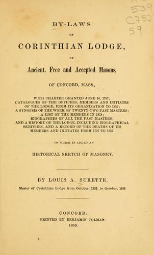 By-laws of Corinthian lodge, of Ancient by Freemasons. Corinthian Lodge (Concord, Mass.)