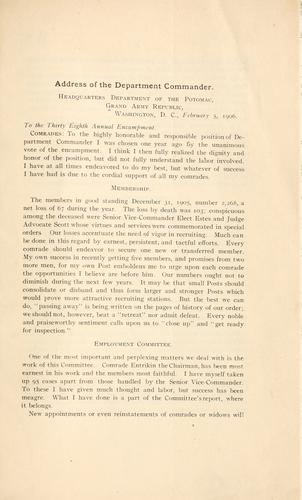 Address of the department commander by Grand army of the republic. Dept. of the Potomac.