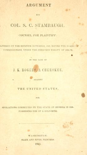 Argument by Col. S. C. Stambaugh, counsel for plaintiff: delivered on the seventh November, 1843 by S. C. Stambaugh