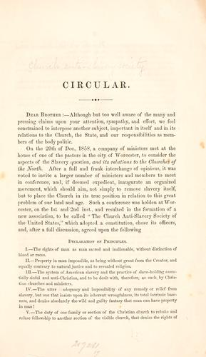 Circular by Church Anti-slavery Society.