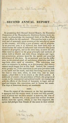 The second annual report of the Massachusetts abolition society by Massachusetts abolition society