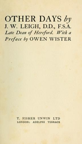 Other days by James Wentworth Leigh