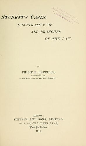 Student's cases by Petrides, Philip Bertie Sir