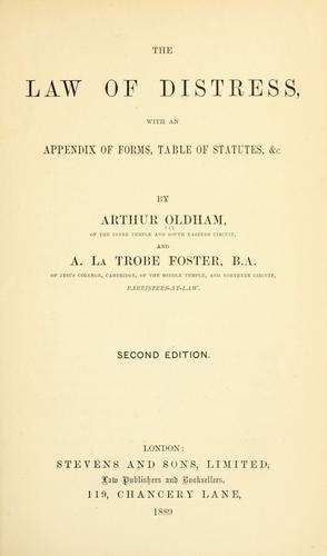 The law of distress by Arthur Oldham