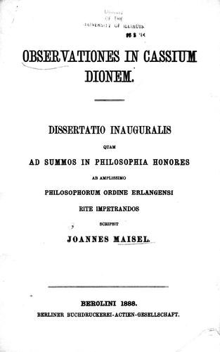 Observationes in Cassium Dio by Joannes Maisel