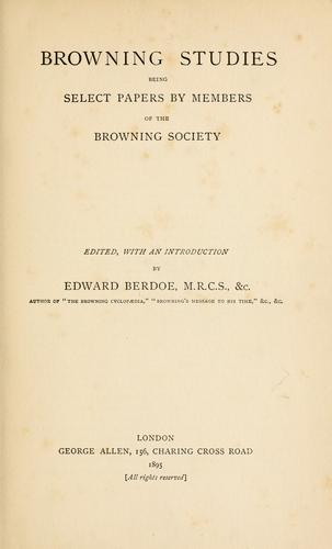 Browning studies by Berdoe, Edward