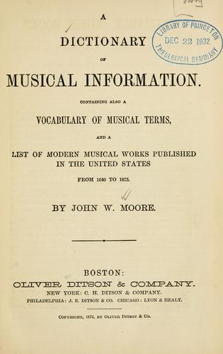 A dictionary of musical information