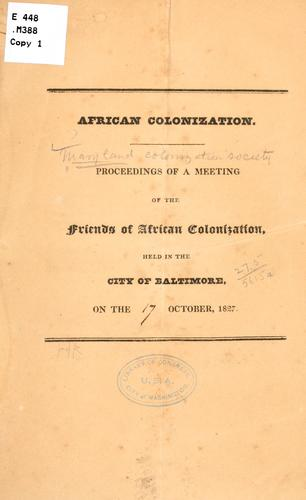 African colonization by Maryland colonization society