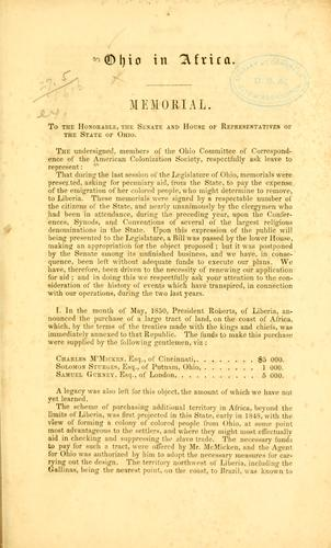 Ohio in Africa by [American colonization society. Ohio committee on correspondence]