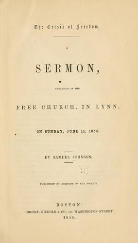The crisis of freedom by Johnson, Samuel