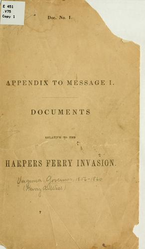 Appendix to message I by Virginia. Governor, 1856-1860 (Henry A. Wise)