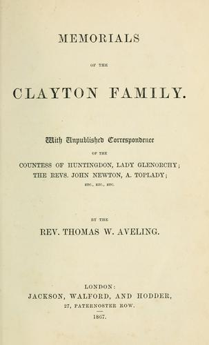 Memorials of the Clayton family.
