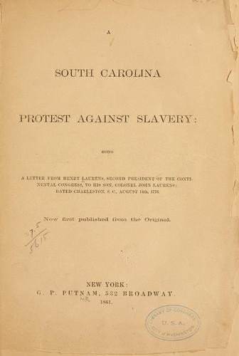 A South Carolina protest against slavery