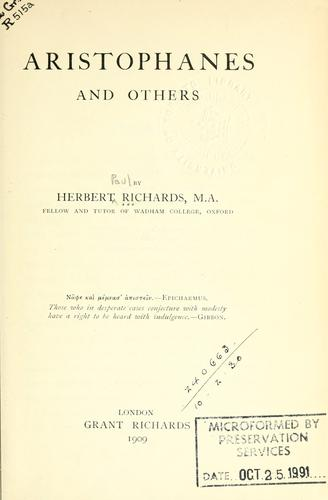 Aristophanes and others by Richards, Herbert