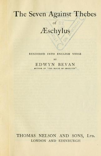 The seven against Thebes of Aeschylus by Aeschylus