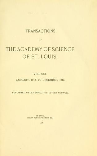 Transactions of the Academy of Science of Saint Louis.
