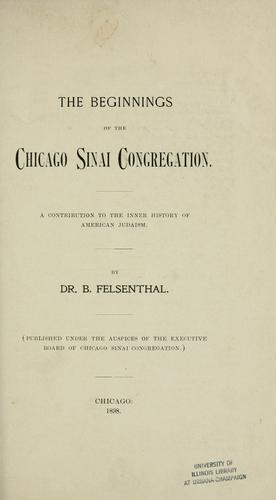 The beginnings of the Chicago Sinai Congregation