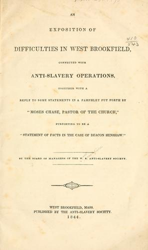 An exposition of difficulties in West Brookfield by West Brookfield anti-slavery society