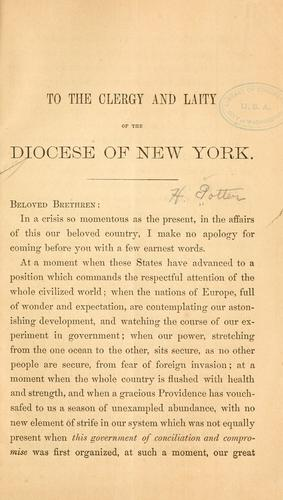 To the clergy and laity of the diocese of New York by Horatio Potter