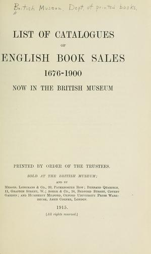 List of catalogues of English book sales, 1676-1900