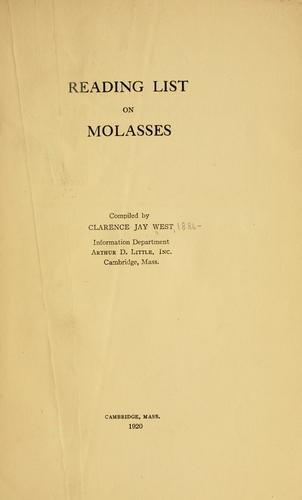 Reading list on molasses by Clarence J. West