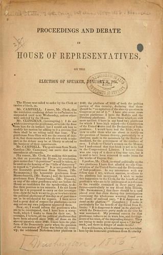 Proceedings and debate in House of representatives, on the election of speaker, January 14, 1856 by United States. 34th Congress, 1st session, 1855-1856. House