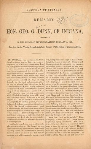 Election of speaker by Dunn, George Grundy