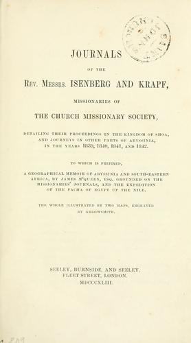 Journals of the Rev. Messrs. Isenberg and Krapf, missionaries of the Church missionary society by Charles William Isenberg