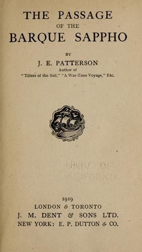 The passage of the barque Sappho by J. E. Patterson