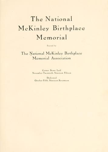 The National McKinley birthplace memorial association by National McKinley birthplace memorial association
