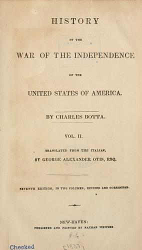 History of the war of independence of the United States of America by Carlo Giuseppe Guglielmo Botta